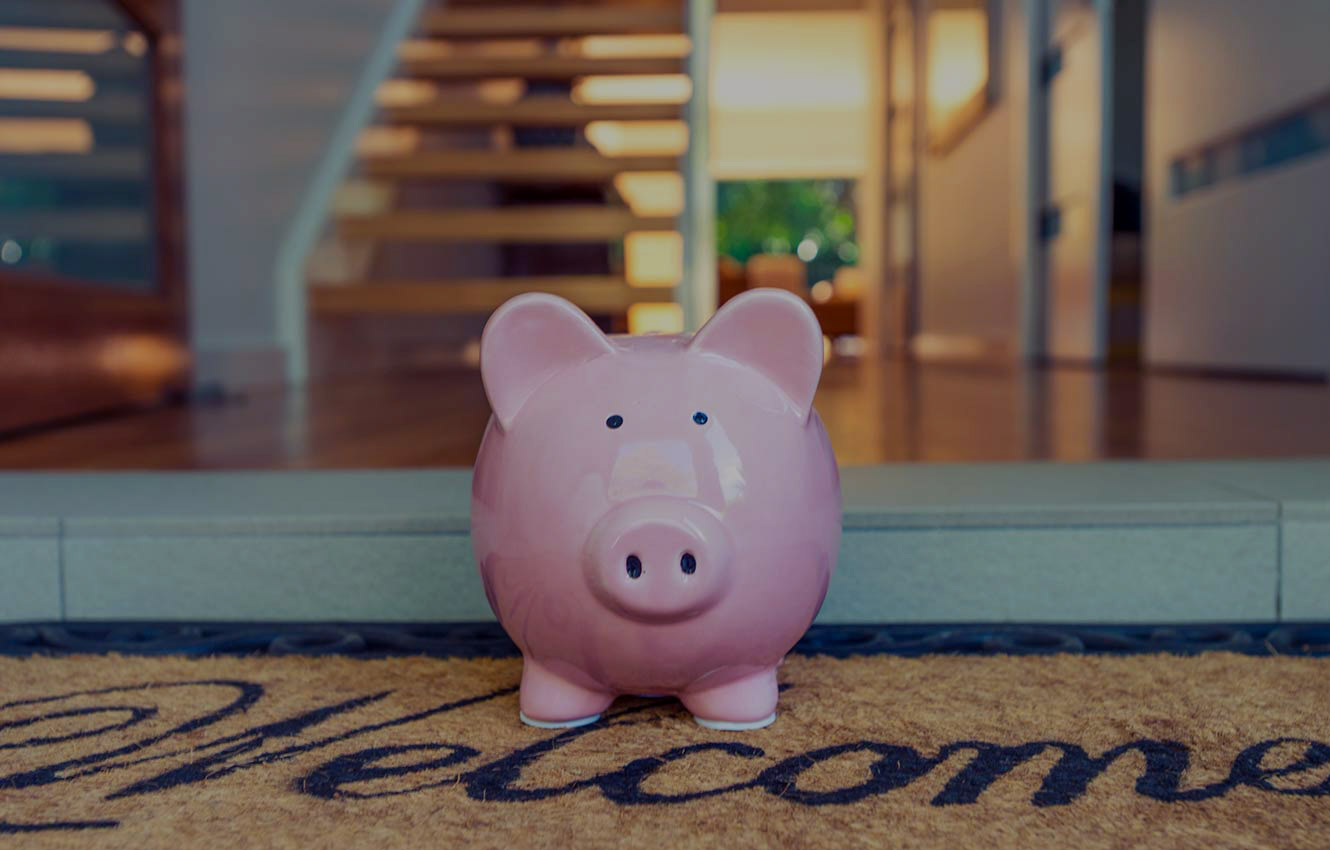 piggy bank on welcome mat